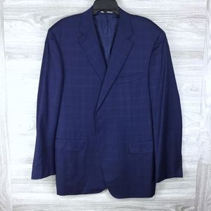 Canali Navy Tonal Plaid Suit Jacket